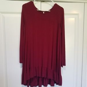 Maroon tunic with ruffled bottom